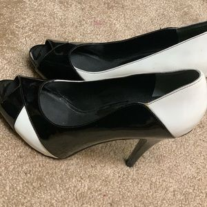 White and black peep toe heels!